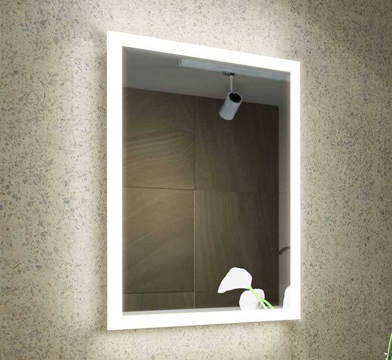 68 cm brede design badkamerspiegel met rondom verlichting en spiegelverwarming