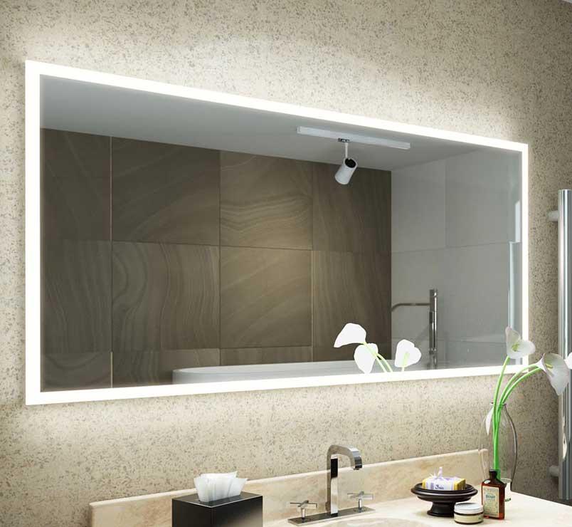 Brede 130 cm badkamer spiegel met design verlichting en verwarming