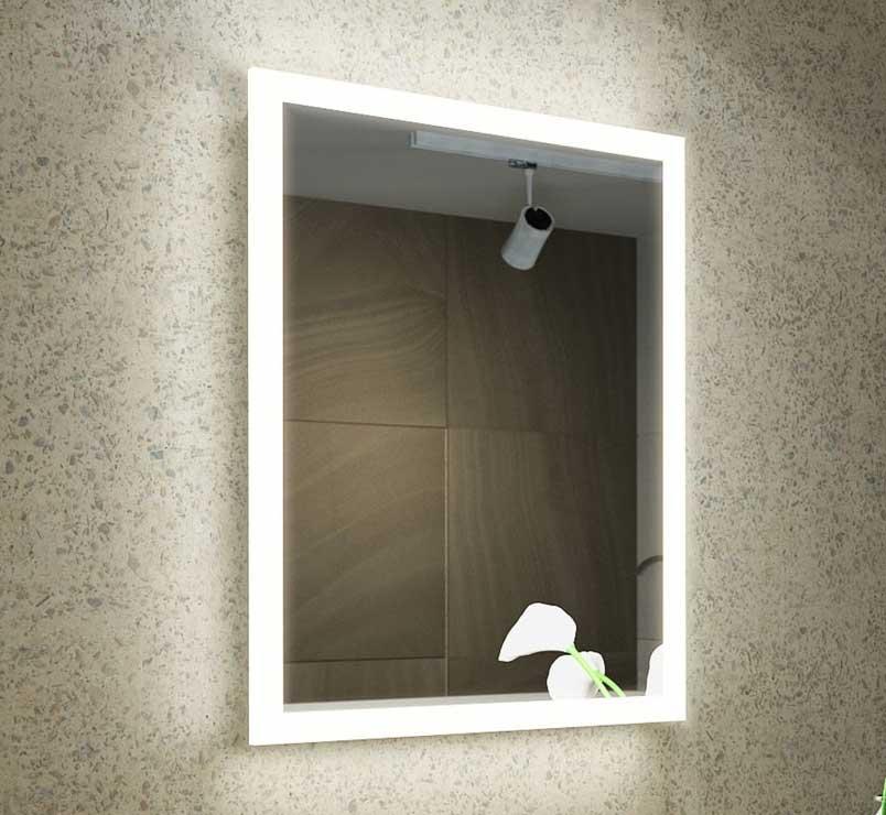 Design spiegel met rondom verlichting, spiegelverwarming en scheerstopcontact