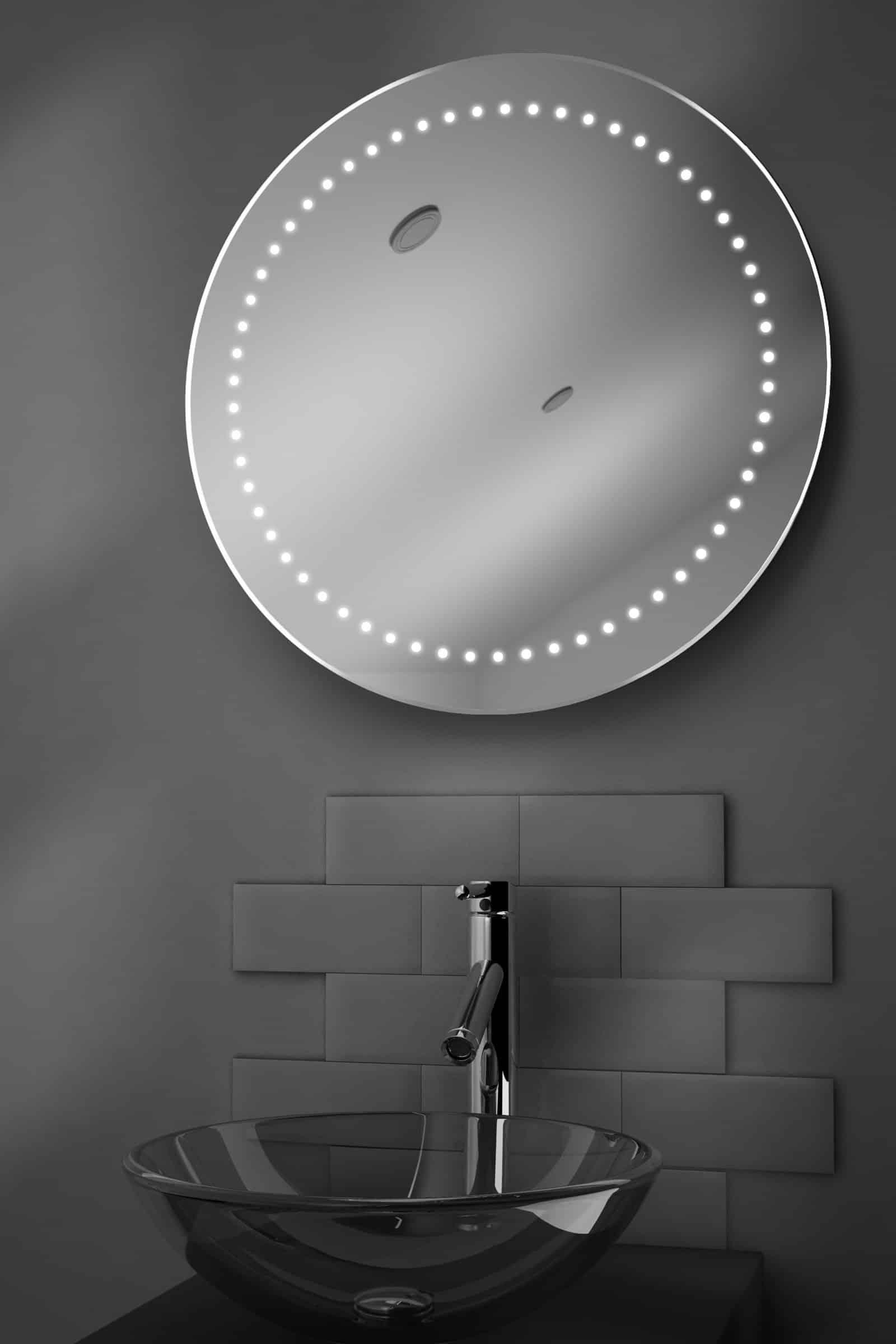Ronde badkamerspiegel met verlichting en verwarming 70 cm Badkamerspiegel met led verlichting en verwarming