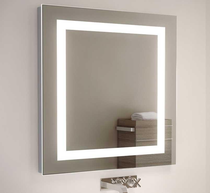 Badkamerspiegel met digitale klok en verwarming – 50×70 cm