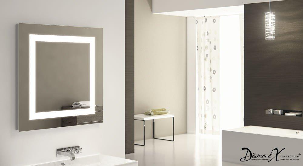 Verlichting Spiegel Badkamer : Vierkanten badkamer spiegel met led verlichting en verwarming