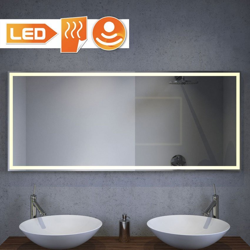 Luxe design badkamer spiegel met verlichting verwarming en sensor 160x70 cm designspiegels - Model badkamer design ...