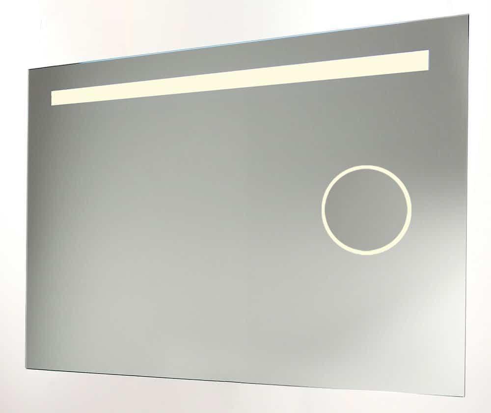 Badkamer spiegel met make up spiegel verlichting en verwarming 80x60 cm designspiegels - Spiegel badkamer geintegreerde verlichting ...