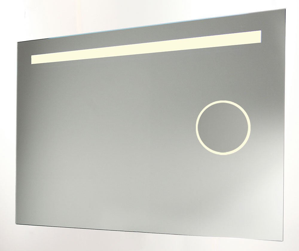 Badkamer spiegel met make-up spiegel verlichting en verwarming 80x60 ...