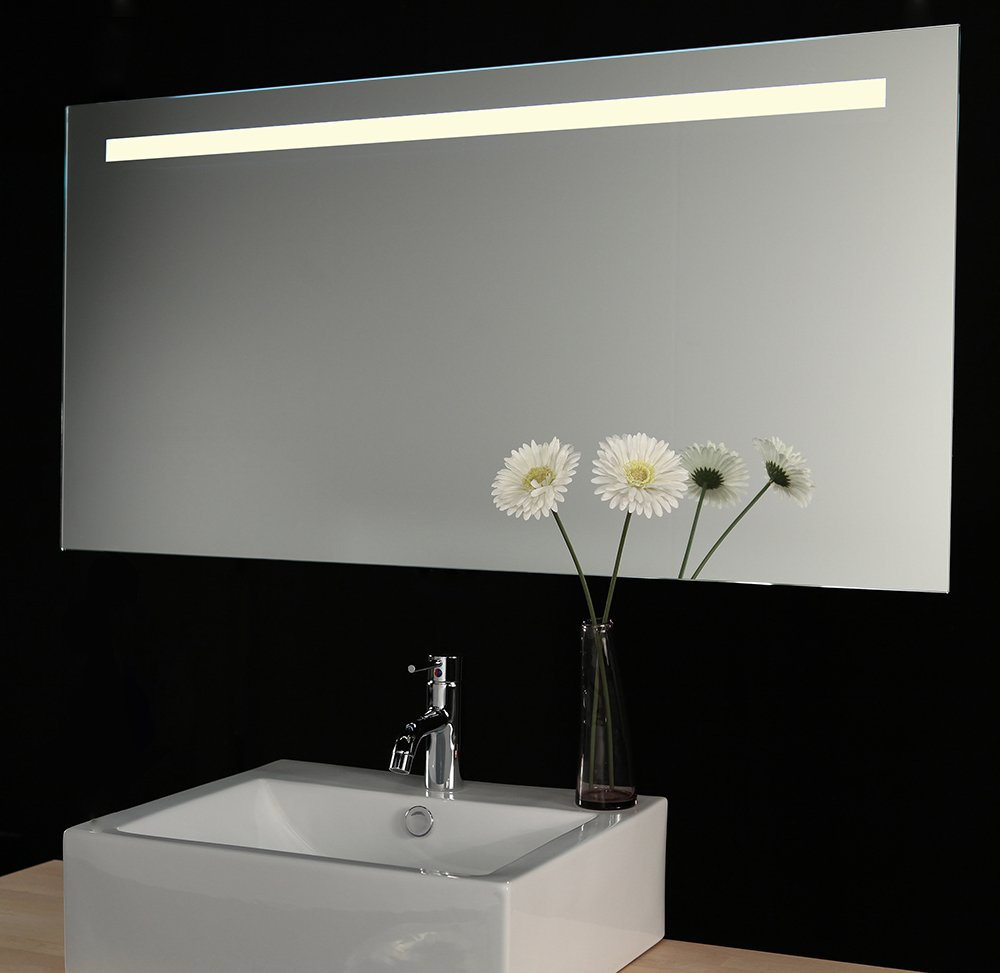 160 cm brede badkamer spiegel met verlichting verwarming en sensor designspiegels. Black Bedroom Furniture Sets. Home Design Ideas