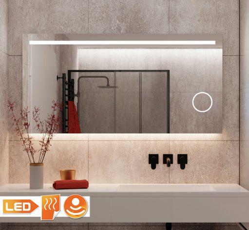 Fraaie badkamer LED spiegel met vergrootspiegel en spiegelverwarming