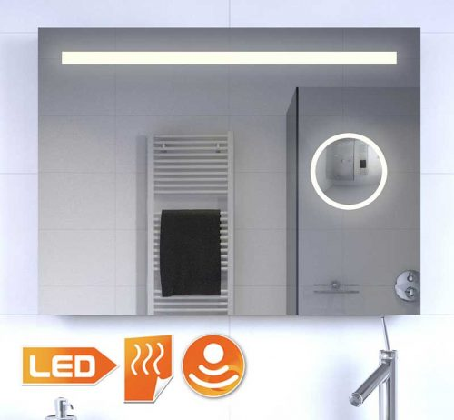 Badkamer LED spiegel met ingebouwde make-up spiegel en verwarming
