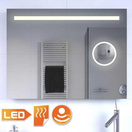 Badkamer spiegel met make up spiegel verlichting en Badkamerspiegel met led verlichting en verwarming