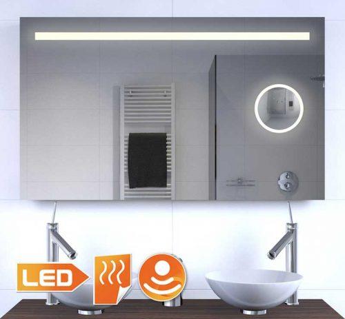 100 cm brede LED spiegel met ingebouwde make-up spiegel en verwarming