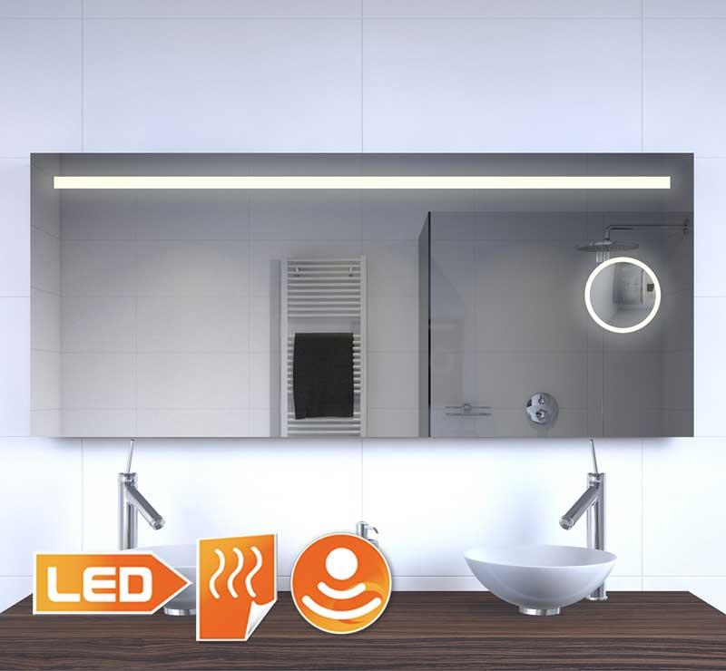 140 cm brede badkamerspiegel met dimbaar LED licht verwarming en vergrotingsdeel