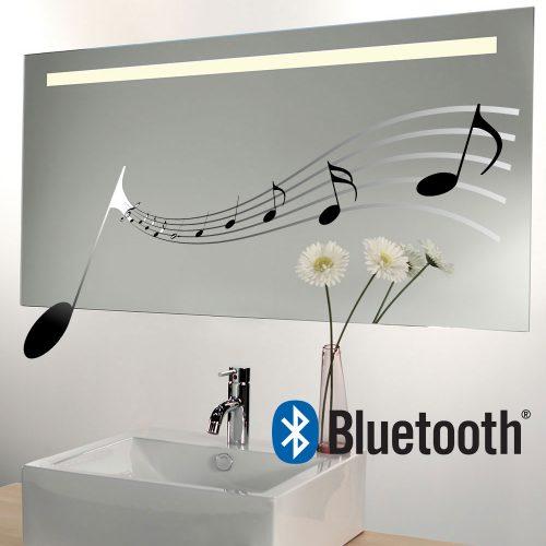 Bluetooth spiegel met ingebouwd muzieksysteem, LED licht en verwarming 90x60 cm