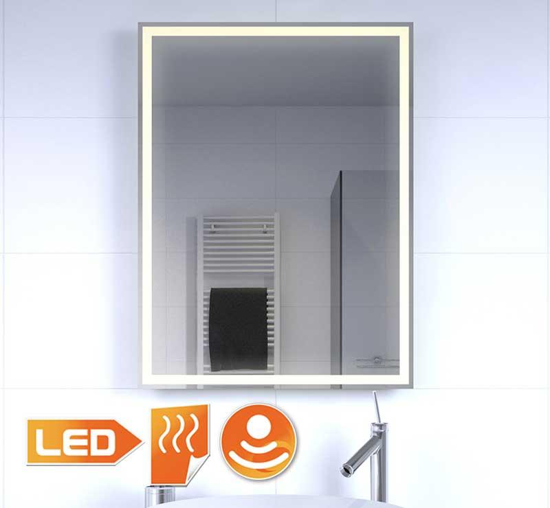 Stijlvolle staande badkamerspiegel met verlichting en verwarming 60x80 cm
