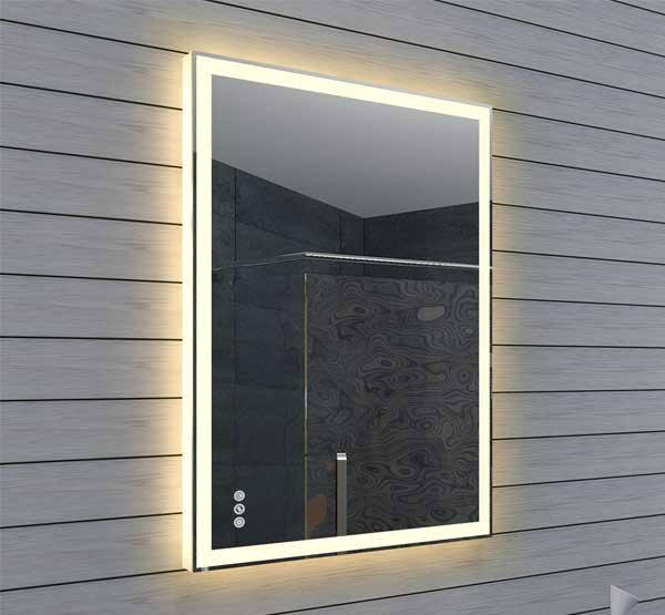 60 cm verticale spiegel met duo verlichting en dimfunctie