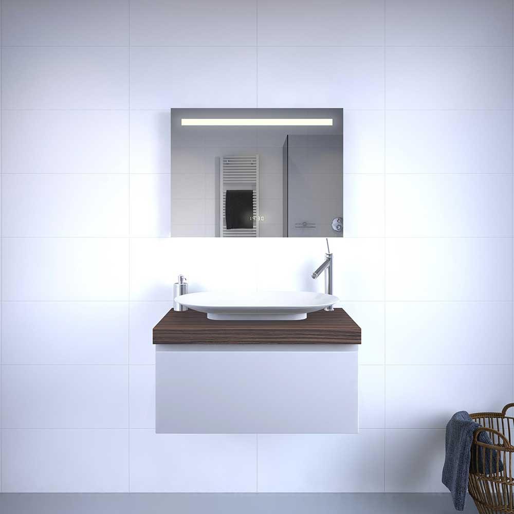 Fraaie badkamer spiegel met klok duo verlichting en verwarming 80x60 ...