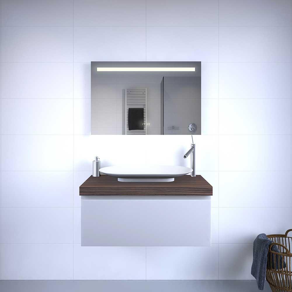 90 cm brede design spiegel met klok verlichting en. Black Bedroom Furniture Sets. Home Design Ideas