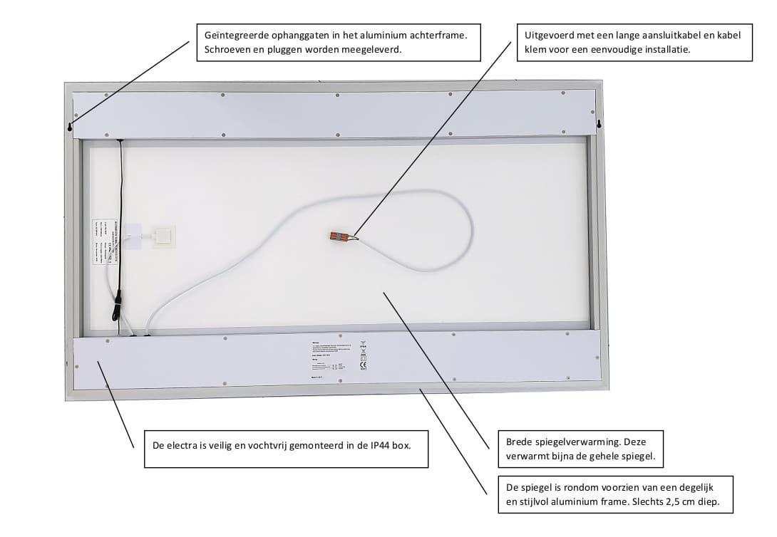 Achterzijde LED spiegel model serie 4030. Afmeting kan afwijken.