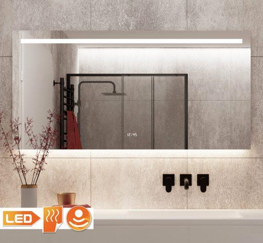 Luxe design spiegel met verlichting, spiegelverwarming, digitale klok en sensor met handige dimfunctie.