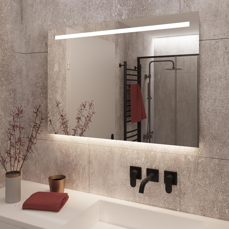 Rechthoekige spiegel met led verlichting grijze wand