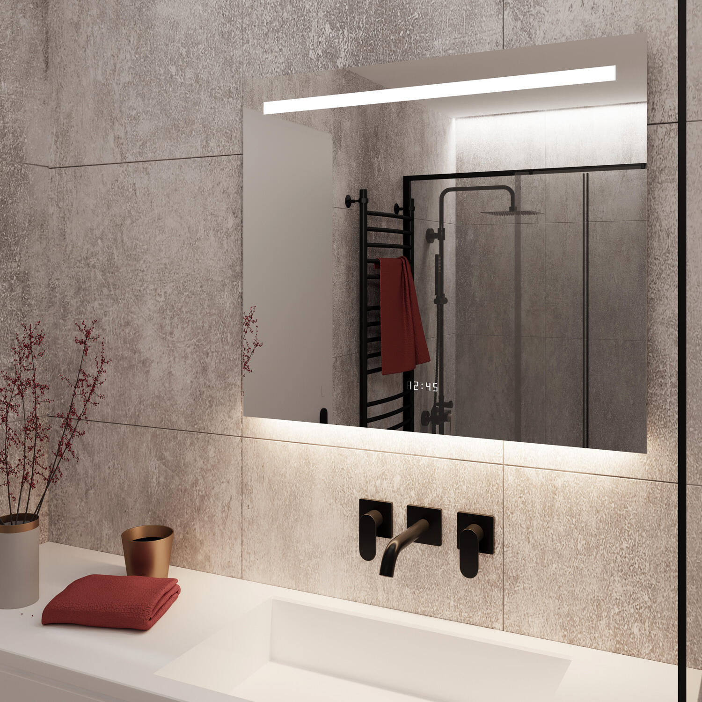 Badkamer spiegel met led verlichting en ingebouwde klok grijze tegel