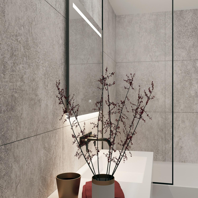 Zijkant led verlichting in spiegel badkamer