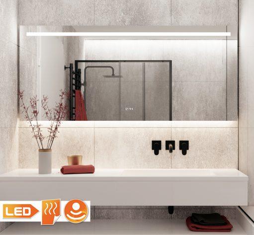 160 cm brede spiegel met zowel sfeervolle verlichting aan de onderzijde als praktische verlichting aan de bovenzijde