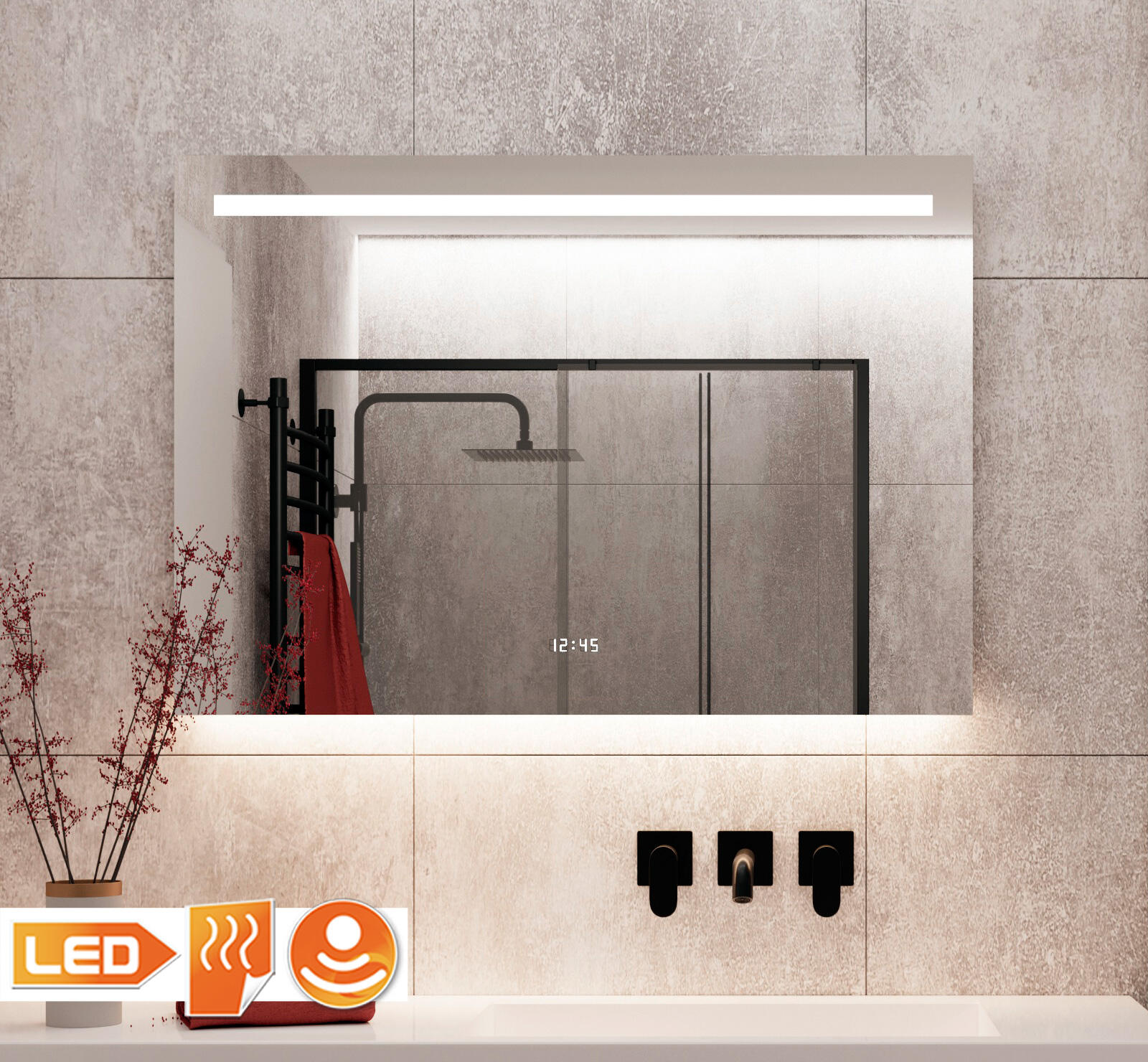 Luxe badkamerspiegel met vele opties en fraaie sfeerverlichting aan de onderzijde