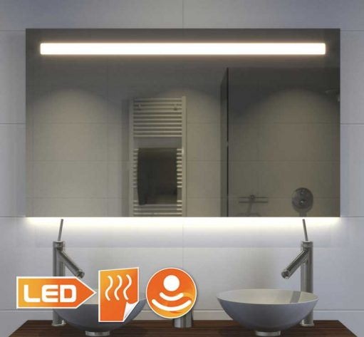 100 cm brede spiegel met praktische directe verlichting bovenin en sfeervolle indirecte verlichting aan de onderzijde