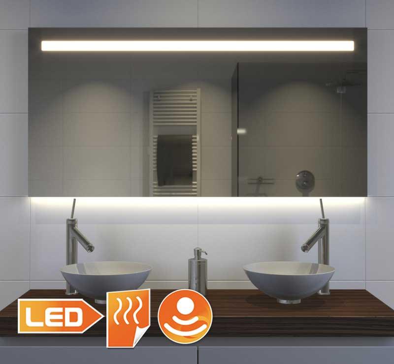 Populair model badkamer spiegel dankzij de gecombineerde verlichting - 120 cm breed