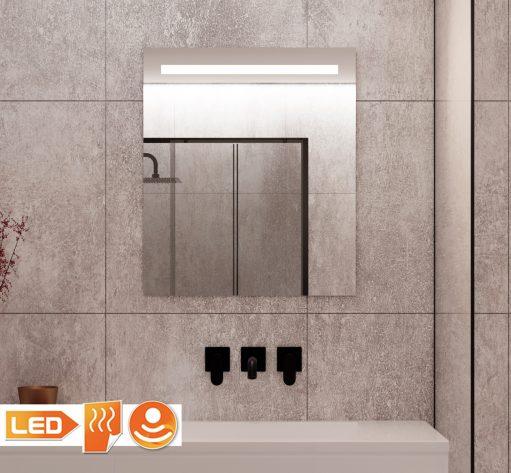 Kleine badkamer spiegel met verlichting, spiegel verwarming en sensor met dimfunctie