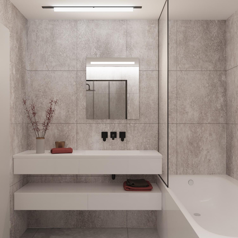 Kleine badkamerspiegel met verlichting en verwarming