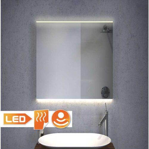 Verwarmde 60 cm brede LED spiegel, dimbaar