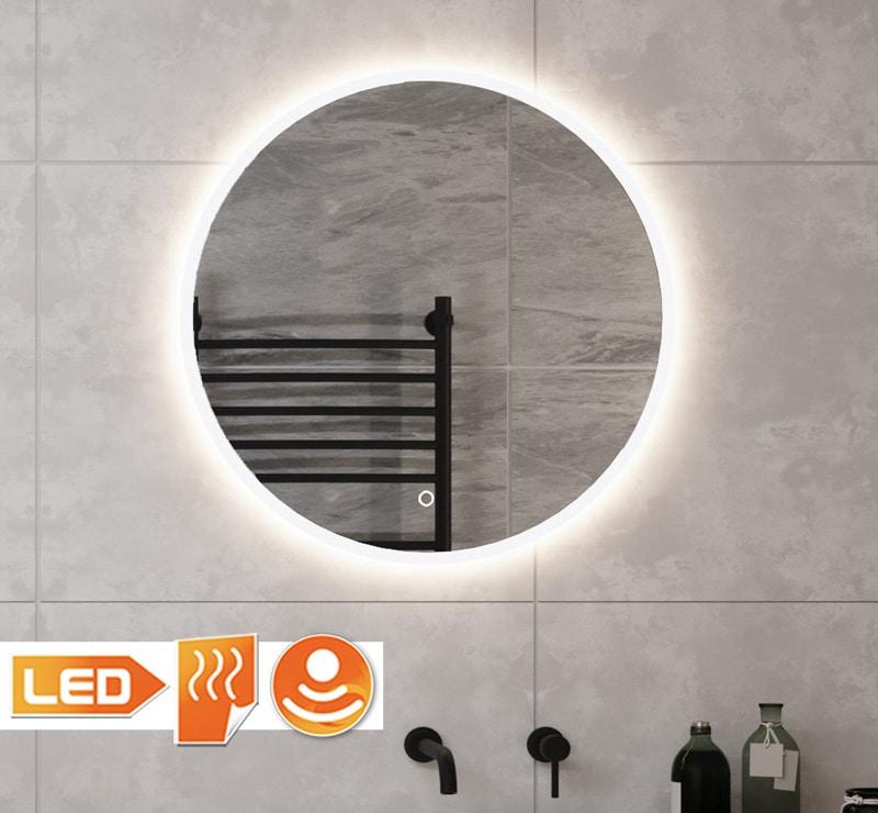 80 cm ronde design badkamerspiegel met geïntegreerde verlichting