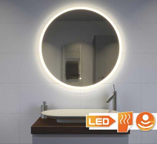 Deze stijlvolle badkamer spiegel heeft een diameter van 80 cm en is voorzien van zowel verlichting als verwarming