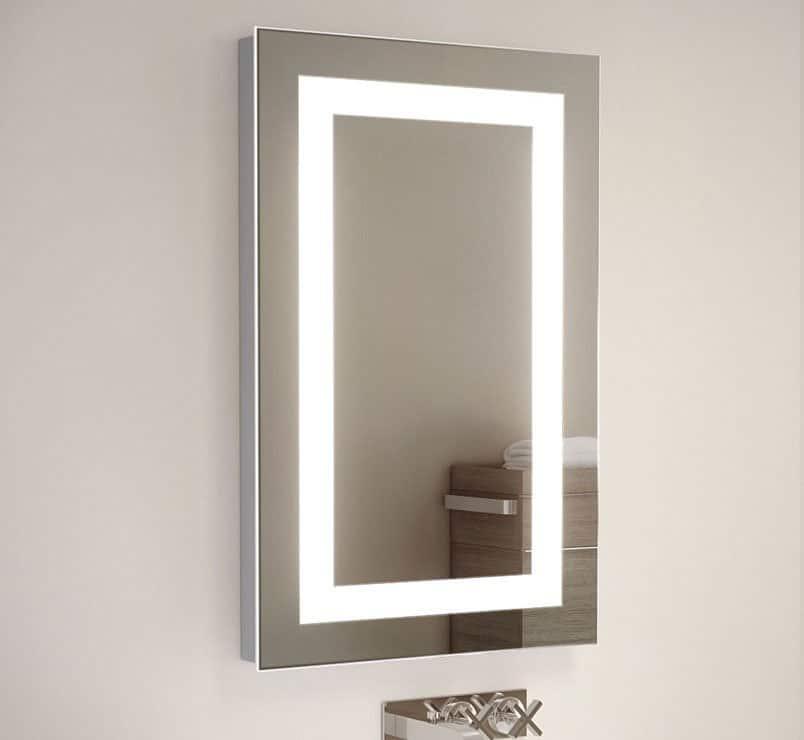 45 cm breed badkamer of toilet spiegeltje met verlichting en scheerstopcontact