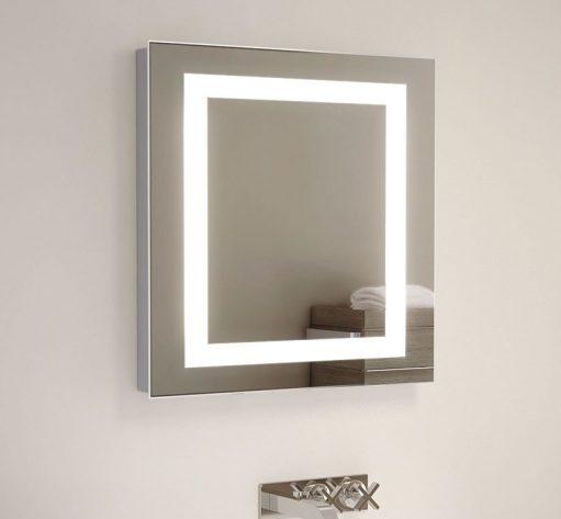 Badkamer spiegel vierkant met verlichting verwarming en sensor schakelaar