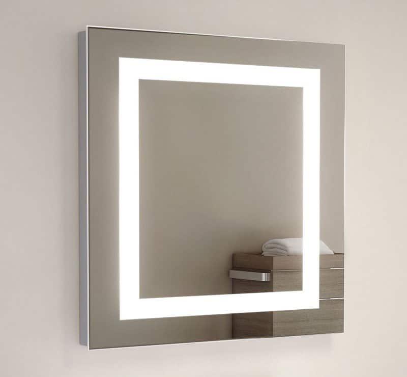 60 cm vierkanten design spiegel met verlichting en verwarming
