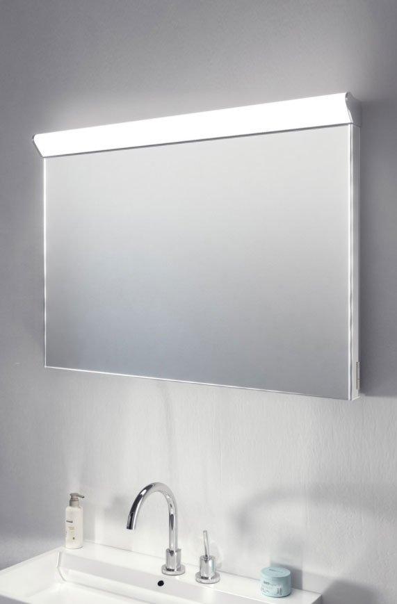 Badkamer spiegel met boven lamp spiegelverwarming en for Spiegel 90x60
