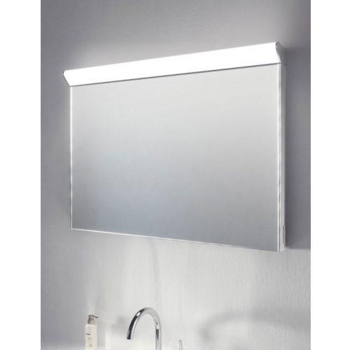 90 cm brede badkamer spiegel met boven lamp, verwarming, scheerstopcontact en sensor schakelaar
