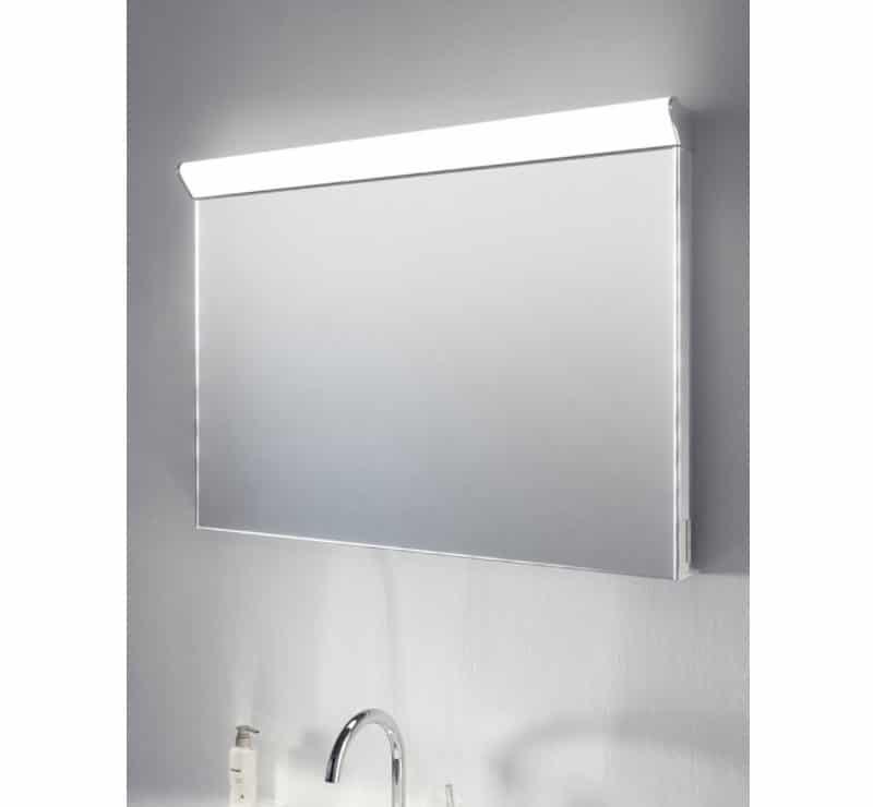 Badkamer spiegel met boven lamp spiegelverwarming en ...