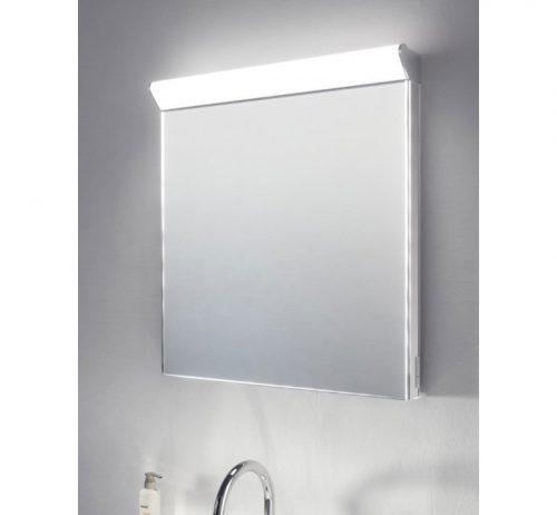 Deze spiegel met toplicht is 60 cm breed en 60 cm hoog