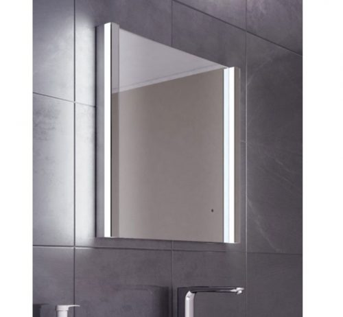 Vierkanten badkamer of toilet spiegel met design verlichting 60 cm