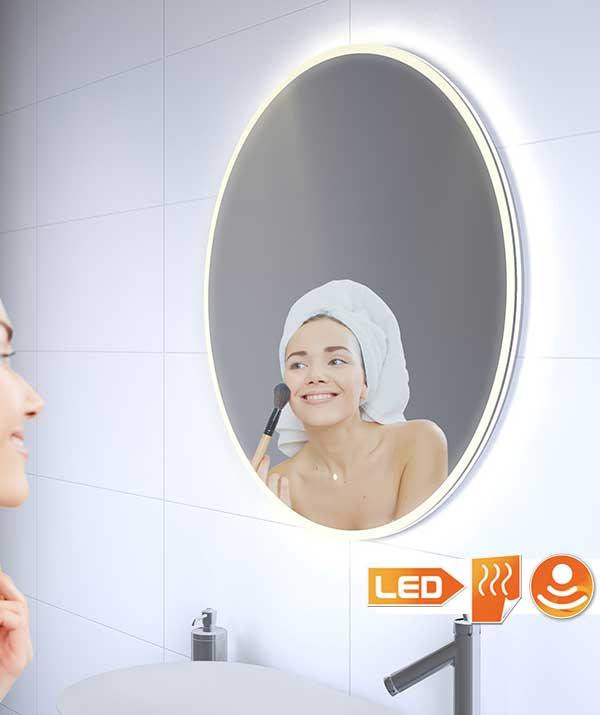 60 cm ronde badkamerspiegel met stijlvolle verlichting, spiegelverwarming en touch schakelaar