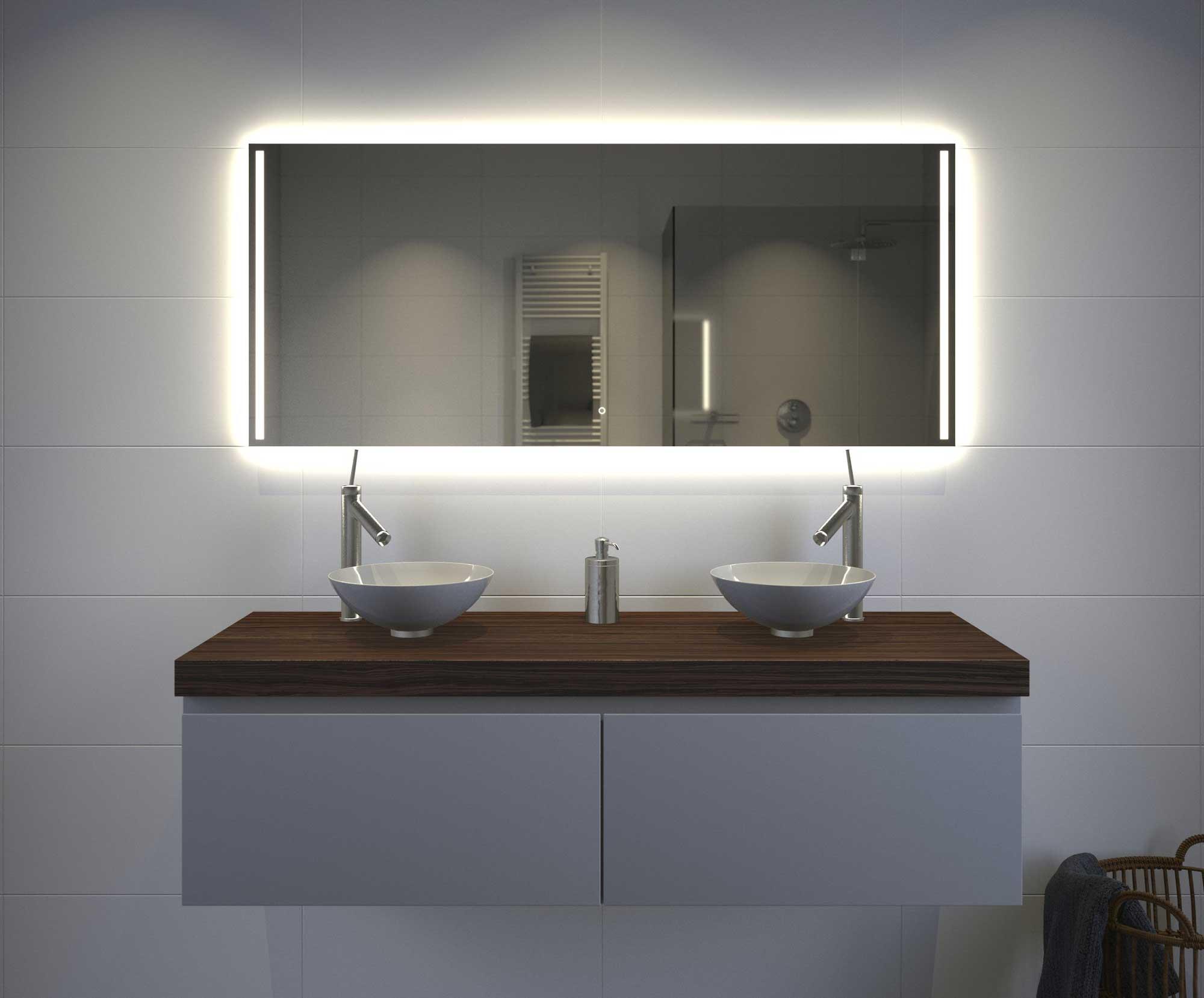 fraaie badkamer spiegel met verlichting spiegelverwarming en touch sensor 140x60 cm designspiegels. Black Bedroom Furniture Sets. Home Design Ideas