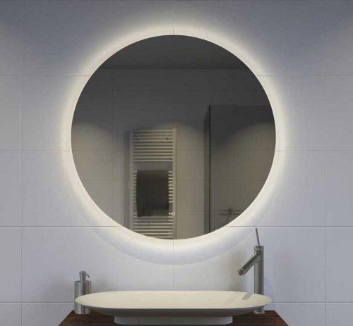 Trendy ronde LED spiegel met verwarming en dim functie