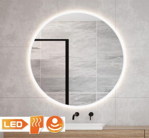 Ronde spiegel met led verlichting en verwarming op grijze tegel