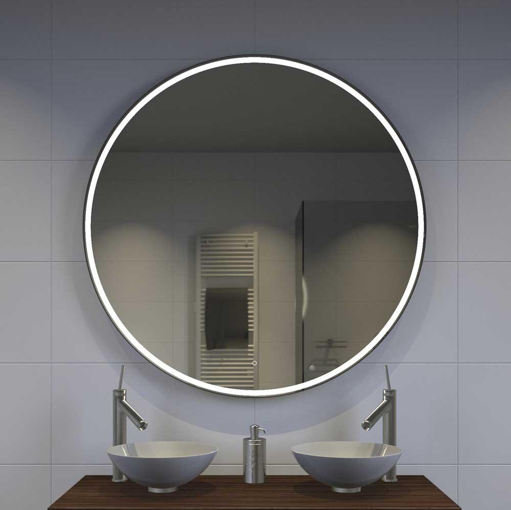 Populair Grote ronde spiegel met stijlvol mat zwart frame en KD21