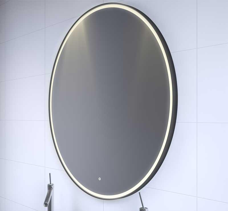 Grote luxe ronde spiegel met mat zwarte frame, verlichting en spiegelverwarming
