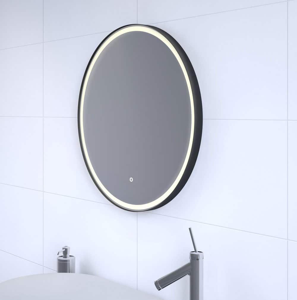 Uitzonderlijk Ronde badkamerspiegel met mat zwart frame verlichting en EO95