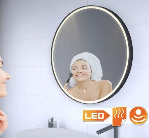 Trendy ronde spiegel met mat zwart frame, goede verlichting en handige spiegelverwarming
